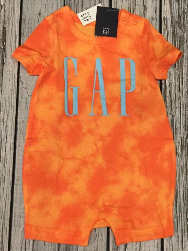 Baby Gap Boys 12-18 Months Orange GAP Logo Shorts Romper. Nwt