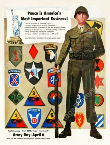 1949 US Army 10th Mountain 11th 82nd 101st Airborne 1st Cavalry new poster 18x24