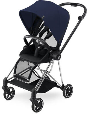 Cybex Mios Lightweight Compact Single Baby Stroller Chrome Frame Midnight Blue