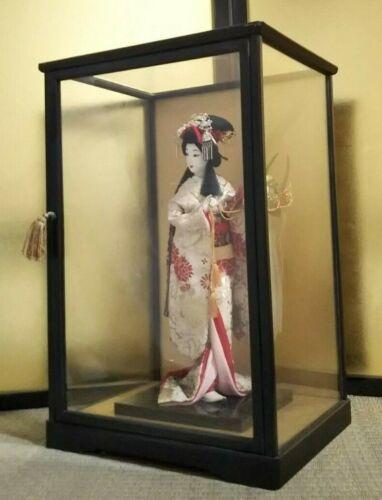 "Vintage Japanese Geisha doll in Kimono 17"" holding samurai helmet in Glass Case"