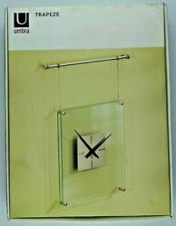 Umbra Trapeze Hanging Wall Clock Nickel Glass 12 x 16