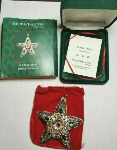 Reed & Barton Sterling Silver Jeweled Star Christmas Ornament
