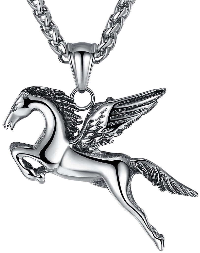 Men's Jewelry Stainless Steel Wing Horse Pegasus Pendant Necklace Chains, Necklaces & Pendants