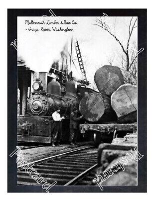 Historic Multnomah Lumber & Box Co. - Grays River, Washington Train Postcard