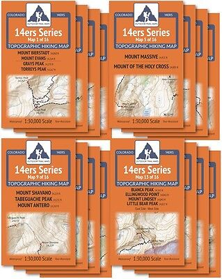 Hiking Trail Maps - CO 14ers Series Complete Topo Map Pack: 16 Maps, All 58 14er Peaks Hiking Trails