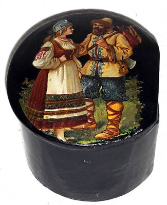 Antike Lackdose Pappmaché mit russischem Motiv Fa. Adt Ensheim ca. 1900
