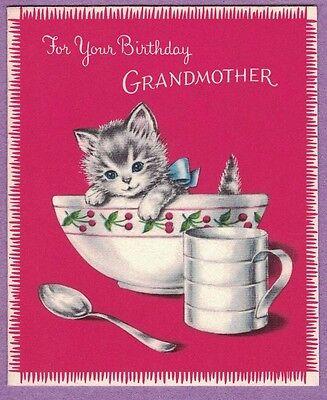 0617A VTG NORCROSS BIRTHDAY CARD GRAY & WHITE KITTEN BLUE EYES IN MIXING BOWL