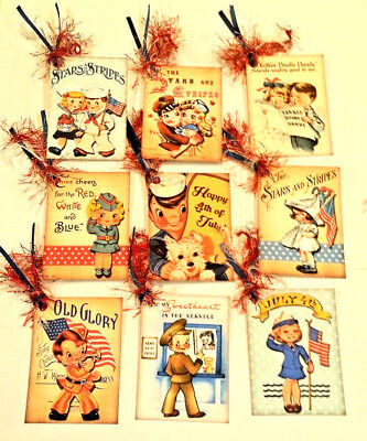 Vintage Fourth of July Kids~9  Gift Hang Tags~Scrapbooking~Card Making Crafts