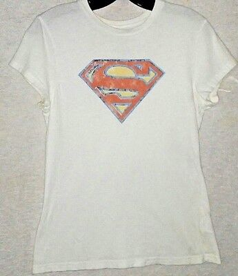Hip Vintage SUPERMAN SUPERGIRL White T-Shirt Tee JR Lg Costume Gift Hippy - Superman White Costume