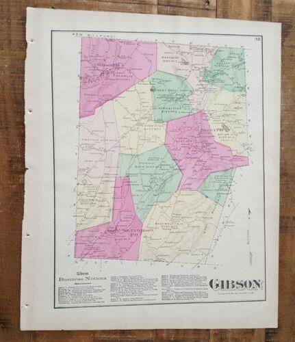 ANTIQUE Colored Map GIBSON, PENNSYLVANIA / A. Pomeroy & Co. 1872