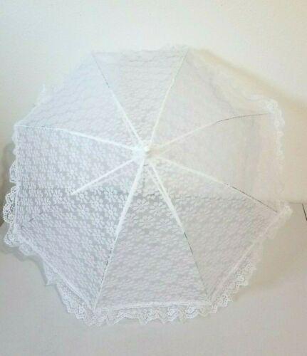 "White Flowered Lace Parasol Umbrella 25"""