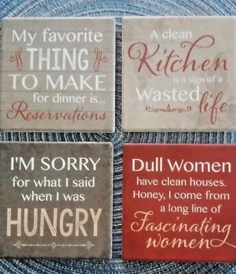 Set of 4 ceramic tile coaster drink kitchen trivet Fun  cute clever sayings