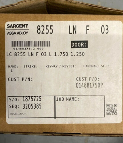 Sargent 8255 LNF US3 Mortise Lockset  - Polished Brass - less cylinder
