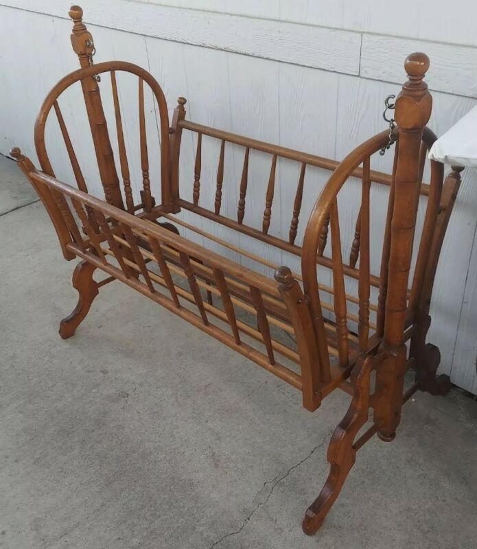 Antique Wooden Swinging  Rocking Spindle Bassinet / Cradle / Crib w/ Bedding