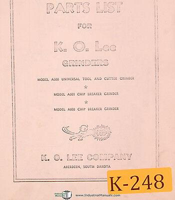 K. O. Lee A600 A601 A603 Grinder Parts List Manual