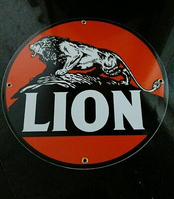 LION Gasoline Oil Porcelain Advertising Sign