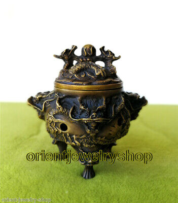 Marked Bronze Dragon Dragons Beast incense burner Censer carved statue