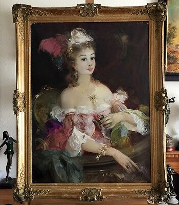 PORTRAIT OF A LADY, SIGNED LARGE OIL PAINTING ON CANVAS IN GILT FRAME