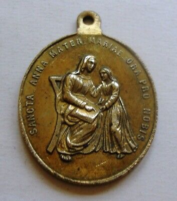 St Anne Mother of Mary & Holy Family Large Vintage Medal