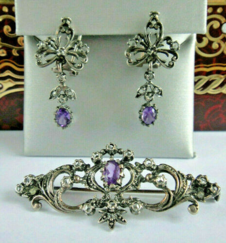 Antique Sterling Silver Amethyst / Rose Cut Sapphire  Earrings and Brooch SET