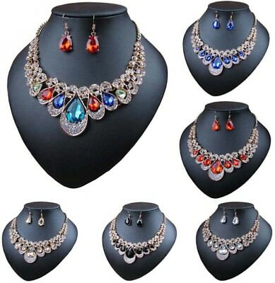 Party Bib - Fashion Women Crystal Pendant Choker Bib Chain Necklace Earrings Party Jewelry
