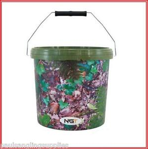 NGT-Camo-Carp-Fishing-Bait-Bucket-5lt-10Lt-for-method-mix-groundbait-etc