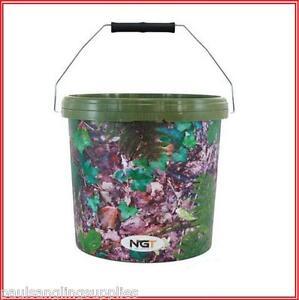 NGT-Camo-Carp-Fishing-Bait-Bucket-5lt-10Lt-for-method-mix-groundbait-etc