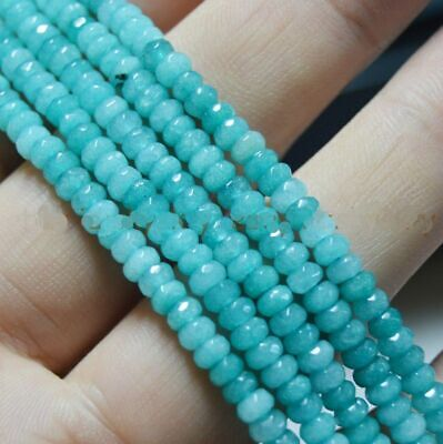 "Faceted 2x4mm Brazilian Aquamarine Light blue Abacus Gems Loose Beads 15"" Strand"