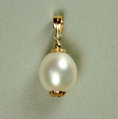 14k solid y/gold 10x9mm natural freshwater white pearl beautiful pendant