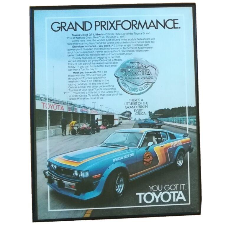 Vtg Framed 1977 Toyota Celica Pace Car Ad 8.5X11 Print Advertising Art