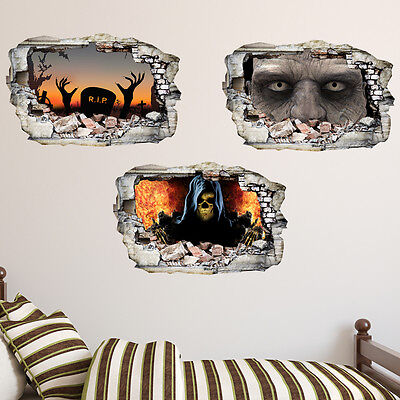 Halloween in Wall Crack Scary Zombie Kids Boy Bedroom Vinyl Decal Sticker Gift