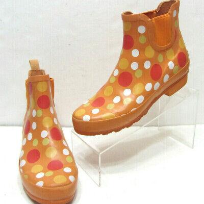 VTG LL BEAN Wellies RUBBER Nylon Shank Womens 8M Orange DOTTED RAIN Ankle BOOTS