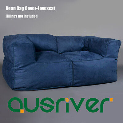 Fashion Indoor Reading Movie Couch Loveseat Soft Bean Bag Cover Navy BB2PNVY - Navy Bean Bag