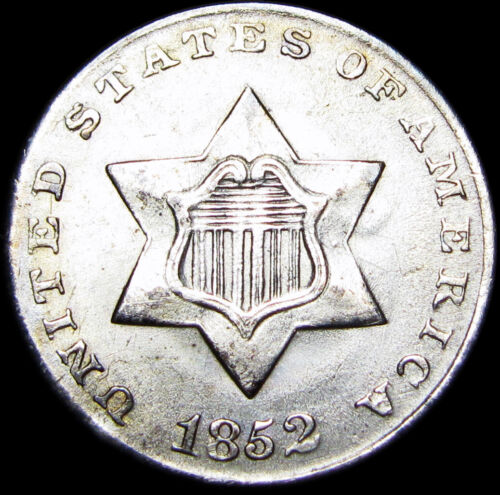 1852 Silver Three Cent Piece 3cp US Coin ----  Type Coin STUNNING ---- #B894
