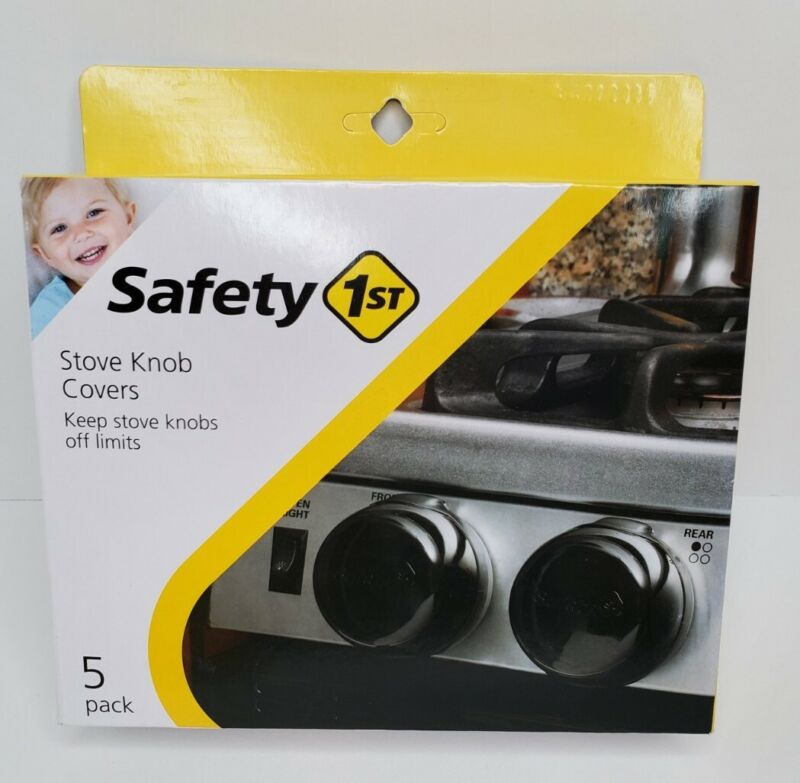 Safety 1st Black Stove Knob Covers - 5 pack - Childproof Babyproof Kitchen - NEW
