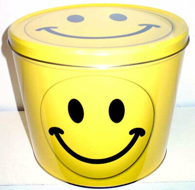 Yellow Happy Face Popcorn Tin with 2 Gallons Caramel Cheddar Cheese Popcorn 2 Gallon Caramel Popcorn