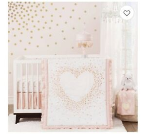 Lambs and Ivy Sweetheart 3 piece crib bedding set