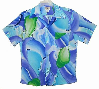 Sz M 1970's Men's Vintage HUKILAU FASHIONS Hawaiian Aloha Shirt Poly Aqua Multi