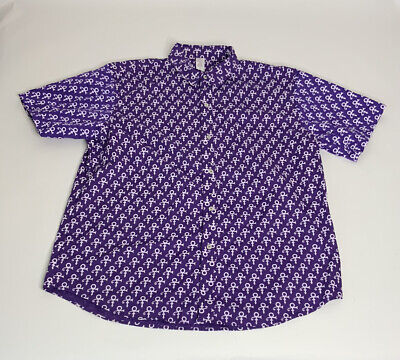 Prince Logo All Over Paisley Park Purple Rain Button Up Shirt Mens Size 2XL NWOT