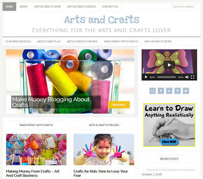 New Design Arts Crafts Blog Website Business For Sale W Auto Content