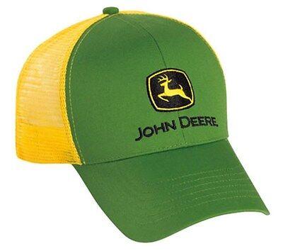 NEW John Deere Green Twill Yellow Mesh Cap JD Hat LP43423