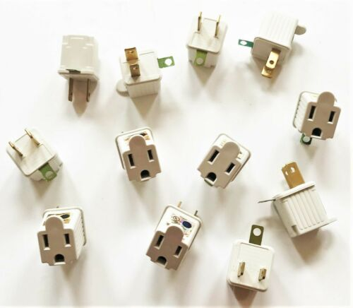 12 UL APPROVED 2 TO 3 PRONG ELECTRICAL OUTLET GROUND ADAPTER PLUG ENDS CORD 125V
