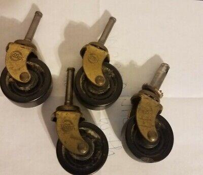 "1 1//4/"" wood caster seat cart chair wheel brass antique vintage old socket 1.2..."