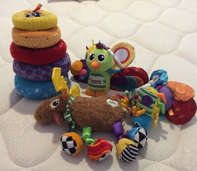 LOT LAMAZE ATTACHING PLUSH INTEREACTIVE TOYS Moose, Bird & Bug + STACKER (RARE)