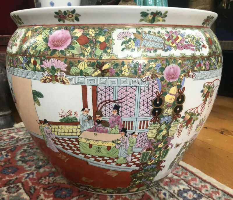 Old Chinese Famille Rose Medallion Porcelain Fish Bowl Planter Large