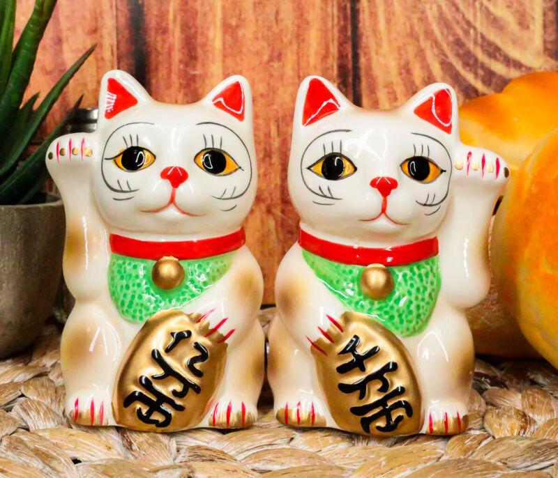 "Ebros Ceramic Japanese Maneki Neko Salt And Pepper Shakers Magnetic Cat 3.5""Tall"