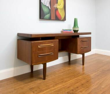 Vintage Retro Danish Inspired G Plan Desk Floating Top + Drawers