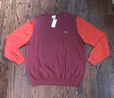 New Mens Lacoste Color Block Sweater Size 7 XL (AH3413 51 HUZ) Red