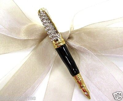 18k GP Fountain Pen Swarovski Element Austrian Crystal Rhinestone Brooch Pin