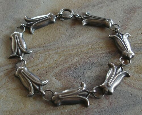 Unique Vintage Sterling Silver Egyptian Lotus Blossom Flower Panel Bracelet